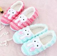 Plush cute 1 pair cartoon pretty stripe rabbit winter warm home floor slippers heel cover children holiday toy girl gift