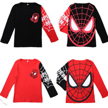 Hot sale Kids Boys Baby Girls Spiderman Hero T-shirt long Sleeve kids Tops 100%cotton children's Clothes(China (Mainland))