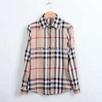 European and American women's plaid shirt Slim long-sleeved cotton shirt 2014 women fat women big yards shirt 1215
