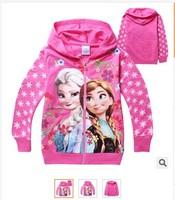 2014 High Fashion cartoon Frozen Queens pattern Children's clothing Kids cardigan jacket,Girls Hooded zipper Sweatshirts 100-140