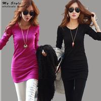 2014 NEW Autumn Long Sleeve O-Neck T Shirt Casual Plus Size Basic Women Tops Fashion Slim Thin Women's Blouse M-XXXL 2093
