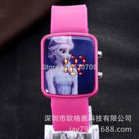 2014 New Child Cartoon Led Watches Princess Frozen Watch Fashion Casual Girls Wristwatch Hot Sale Cute Jelly Digital Clock