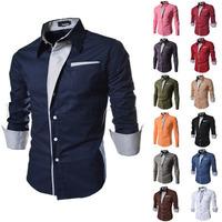 T1148 2014 New Brand Men's Long Sleeve Dress shirts Casual Mens Korean Slim Fit business Shirt Spring/Autumn Men camisas M-XXL