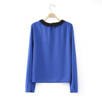 1626- 2014 Winter Women's European and American big new spell color long-sleeved T-shirt doll collar hedging wild shirt