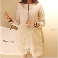 Winter Popular Celebrity Style Patchwork Woolen Fur Jacket, Elegant Faux Fur Wool Medium-Long Woman Wool Coat