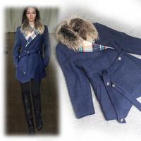 Winter New 2014 Designer Abrigos Mujer Women Wool Asymmetrical Trench Coat Fur Overcoat Lady Dress Free Shipping W1471