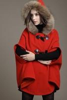 2014 Fashion Hot Cashmere wool autumn and winter Women wool coat cloak overcoat fur collar cloak woolen outerwear cape jacket