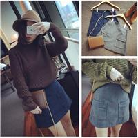 2014 NAVA Double Pocket Woolen Fashion Check A-line Casual Skirt Bust Skirt