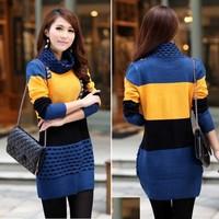 2014 dresses knitting Women's Winter Fashion knitted Sweater dress Knitting Pullover Long Coat Tops 5 Colors Sv18 Cb031843