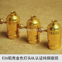 UL lamp bases E26E27 Edison vintage bulb base gold underplating retro knob beass switch pendant lamp holders 10PCS free shipping