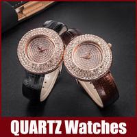 Luxury & Fashion Brand Watches Women Diamond Rhinestone Dial & Dial Window Crystal Quartz Watch Leather Band Big Digital Scale