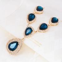 1 Piece Free Shipping New Design Exquisite Women drop shape crystal blue short statement Necklaces K126