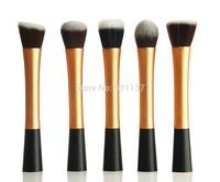 5pcs cosmetic advanced artificial fiber facial make up brush kit makeup brushes tools set golden colour CZ007