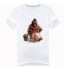 Новый свиней всадник столкновение кланы с коротким рукавом футболка APP игры(China (Mainland))