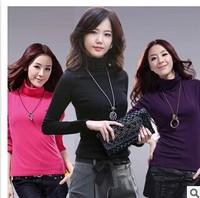 Free transportation elastic solid high collar Korean women wild cultivating long-sleeved solid milk silk shirt Women T-shirt