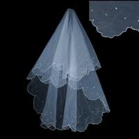 Free Shipping Romantic Bridal Veil Pearl Sticky Beaded Wedding Veil Single Crescent Edg