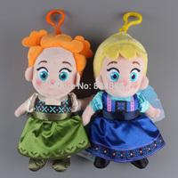 "10pcs/lot Frozen Dolls Plush Toys Princess Elsa Anna Plush Doll with Keychains 7"" 18CM Kids Dolls for Girls ANPT254"