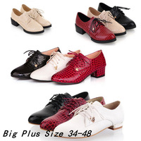 (Black+Beige+Red)Fashion Crocodile Patent Leather Sqaure Heel Oxford For Women Plus Size 34-43 Lace Up Four Seasons Lady Sneaker
