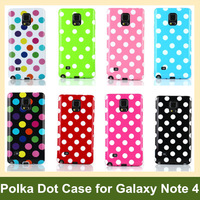Lovely Polka Dots Soft Gel TPU Cover Case for Samsung Galaxy Note 4 30pcs/lot Free Shipping