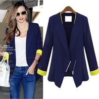 XXXXL Women Plus Size Blazers 2014 Autumn Hot Sale Slim Full Sleeved Lady Work Wear Cool Black Coat Jackets Free Shipping