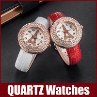 Cartoon Watches With Tower Style Inside Rhinestone Diamond Watch Women Wristwatche Lady Child Leather Band