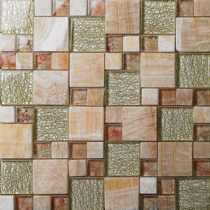Azulejos Para Baño De Cristal:Square Glass Mosaic Tile Backsplash