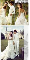Korean version of The Princess Bride Bra straps trailing fishtail lace wedding dress