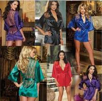 Free shipping new womens Sexy Lingerie Satin Lace Kimono Intimate Sleepwear Robe NightGown + G-string
