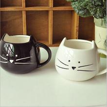 2014 New Zakka Lotion Coffee Tea Cup Black And White Cat Animal Milk Ceramic Lovers Drink  Mug Cute Drinkware Creative Gifts(China (Mainland))
