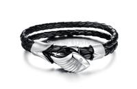 Lovejewelry Angel Wings Stainless Steel Crystal Cubic Zirconia Leather  Bracelet