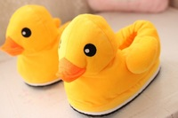 Plush cute 1 pair cartoon little yellow duck winter warm home floor slippers heel cover children holiday toy girl gift
