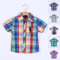 summer children baby boys POL0 brand short sleeve plaid shirt blouses boy kids lattice t shirts casual child shirts for boy