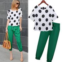 2pcs Suit blouse + pants Womens Jumpsuit 2015 New Fashion Summer Short Dot blouses casual Seven trousers Jumpsuits For Women
