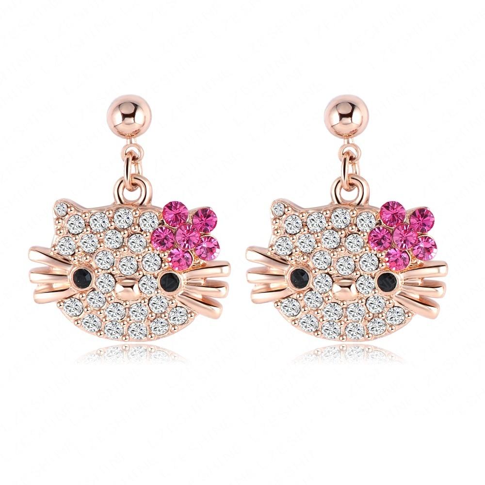 Christmas Gift Costume Jewelry Cat Flower Stud Earring Girls 18K Rose Gold Plate Austrian Full Crystals Kitten Earings ER0109-A(China (Mainland))