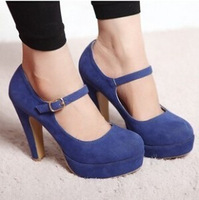Women Sexy Suede Mary Jane Ankle Strap Platform Stilettos High Heel Pump Shoes d