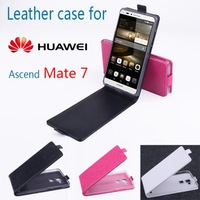Free shipping  Flip up and down  Leather PU case for HUAWEI Mate 7 phone case