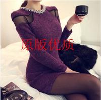 2014 free shipping Women's woolen one-piece dress slim long-sleeve slim hip basic skirt