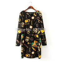 Big yards of 2014 autumn winters is women's clothing collar long sleeve head knitting key clocks print dress free shpping