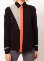 New 2014 Hot Sell Fashion Women Chiffon Blouse Chic Lapel Button Patchwork Long Sleeve blousa Casual Chiffon Shirt Women Tops