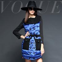 Fashion net colored 2014 fashion slim waist slim double breasted medium-long down outerwear