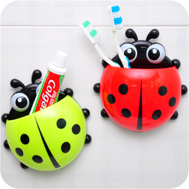 Ladybug toothbrush holder toothpaste holder combination set suction cup storage rack h887(China (Mainland))