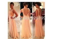 Vestidos De Fiesta Peach Long Chiffon A-Line Formal Evening Gowns Nude Back Lace Prom Dresses