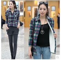 2014 women's autumn and winter tide of street plaid long-sleeve shirt plus velvet thickening thermal slim shirt