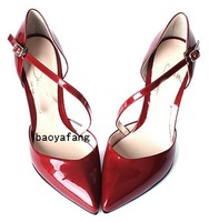 2014 high-heeled shoes fashion bandage pointed toe red wedding shoes princess shoes women's shoes
