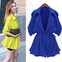New arrival 2014 early autumn fashion cardigans long sleeve turndown collar slim adjustable waist women jacket cotton blend coat