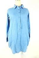 Women denim shirt long sleeve dress turn back sleeved UK size 100% cotton