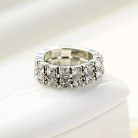 fashion simple silver rhinestone double line elastic finger rings (2 rows)