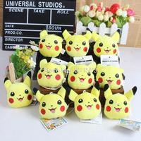 Anime Pokemon Pikachu Plush Toy Doll with Ring Cartoon Soft Stuffed Doll 10pcs/lot Free Shipping