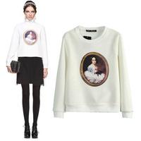 2014 Printed sweater new Korean long-sleeved round neck beauty mirror head women's sweater