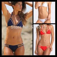 Sexy Triangle Mesh Bikinis Set Women Vintage swimwear 2014 Bikini Monokini Halter Bathing Suit biquini TOP + Bottom